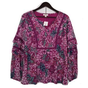 STYLE & CO. PURPLE FLORAL PLEADED TOP BLOUSE TUNIC